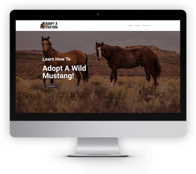 picture of the adoptamustang.com website showing on a computers creen
