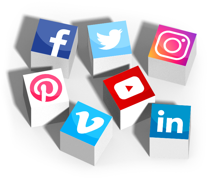 social media icons on the top of boxes